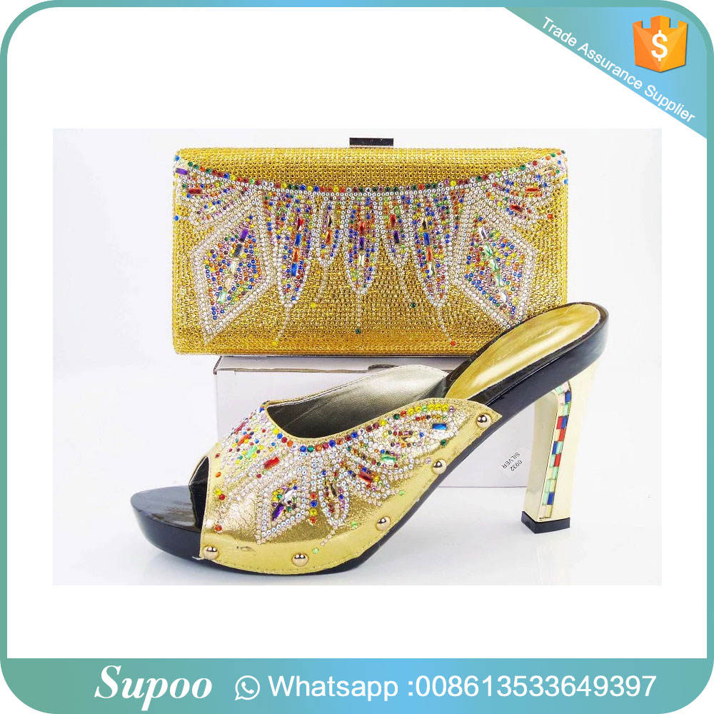 Customized color pure color shoes and bag decorated with stones girls high heel sandals party wear high heels