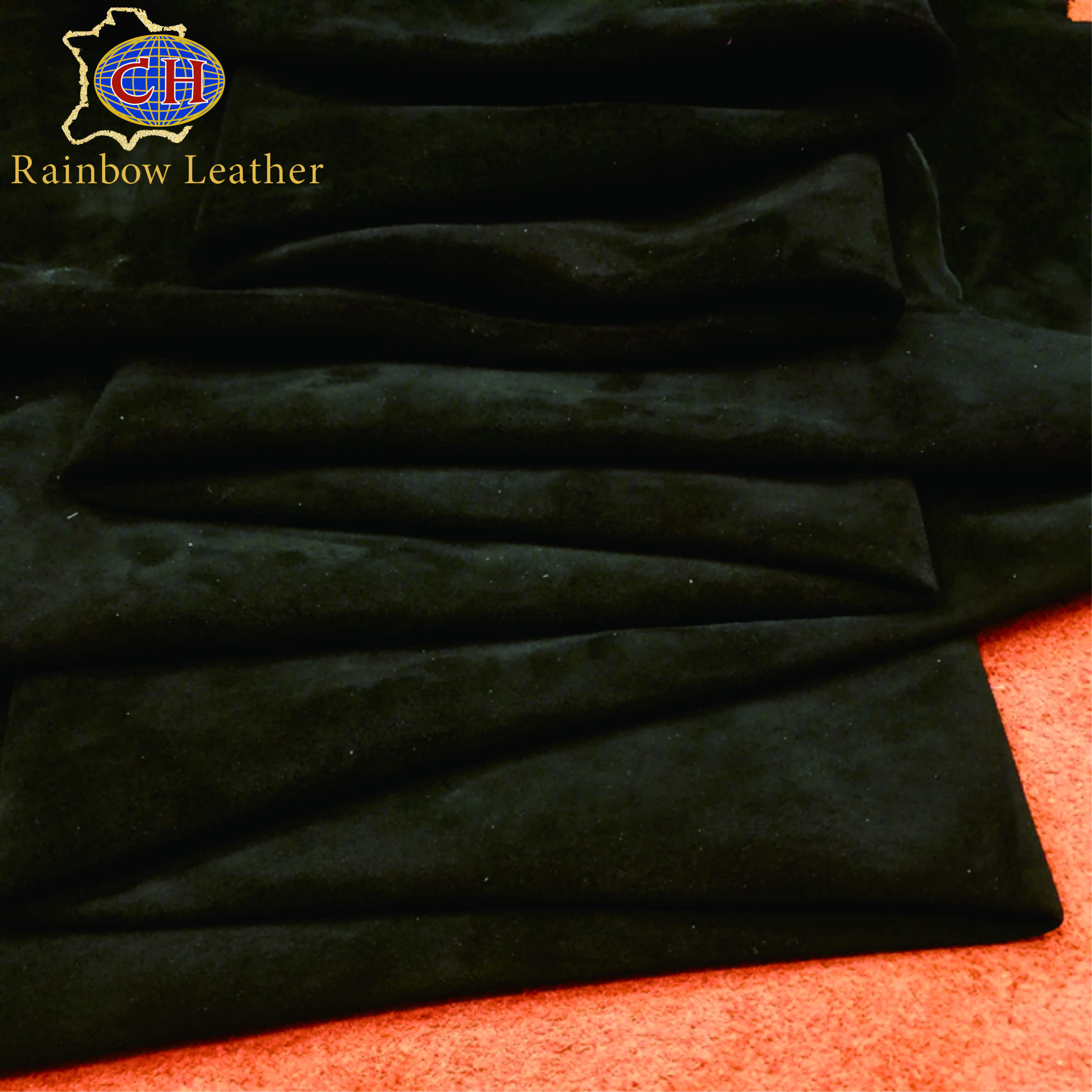 China Supplier Finished Black Kid Goat Suede Leather for Shoes and Boots