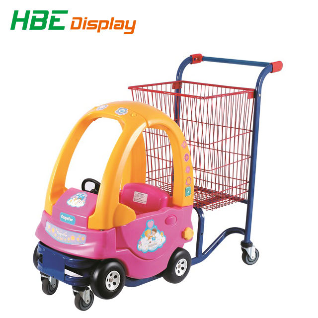 Selling Supermarket Plastic Kid Shopping Trolley Car with Baby Seat