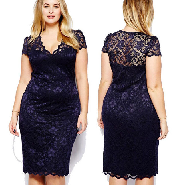 R31005S big sizes lady clothing v-neck lace women clothes fat woman sexy dresses