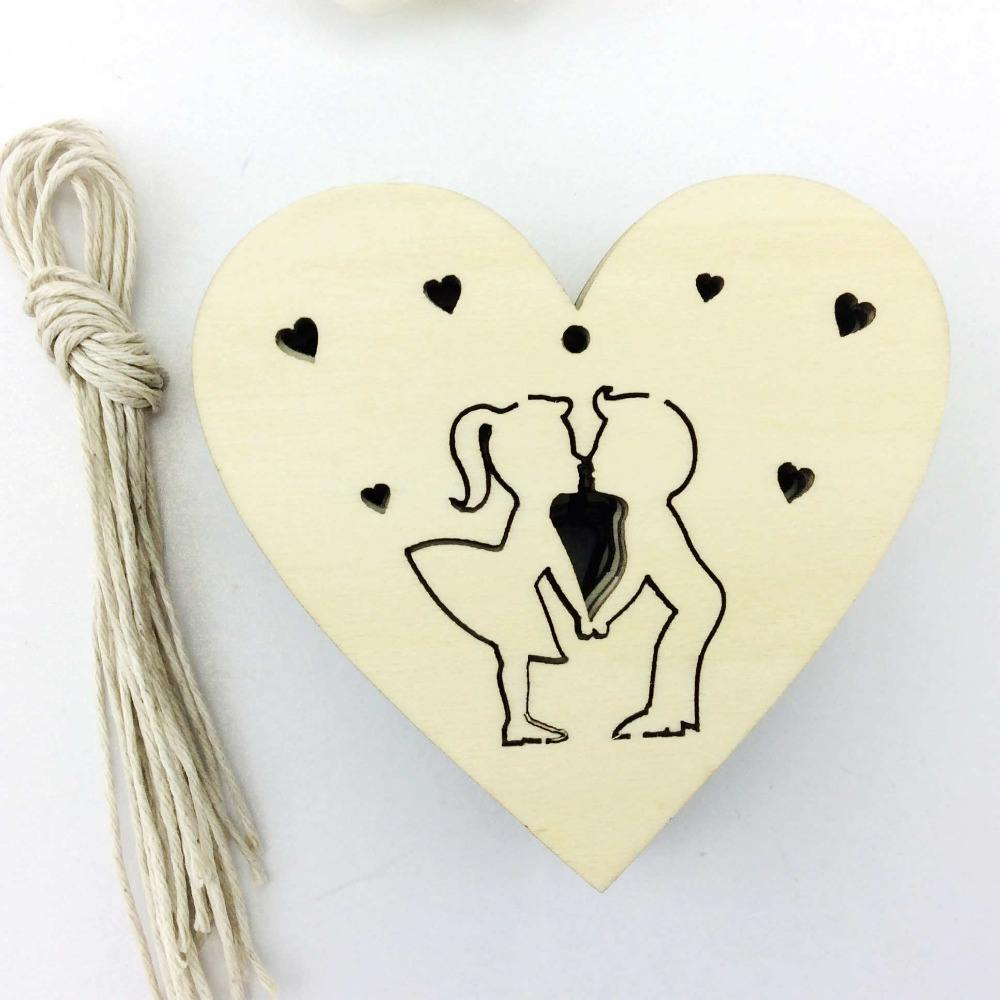 Fashion design heart shaped boy and girl Valentine wood gift