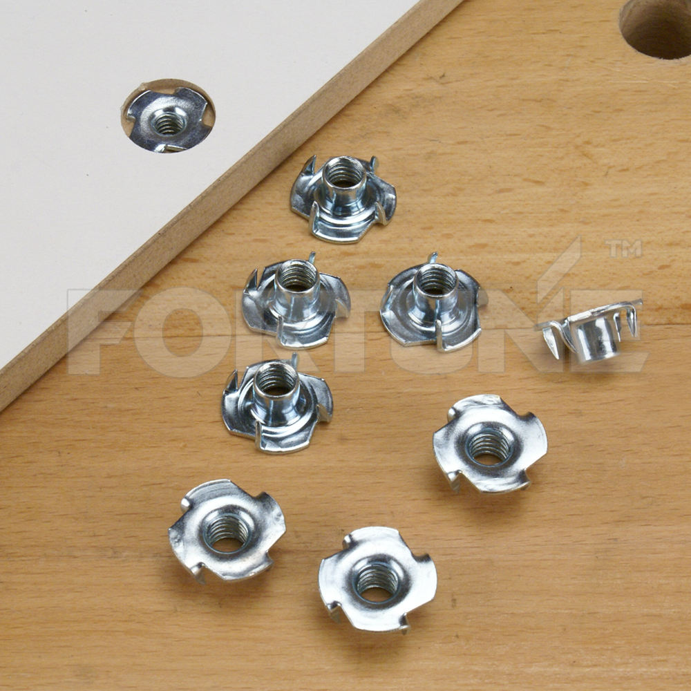 T Nuts with 4 Prongs For Wooden Parts Installation