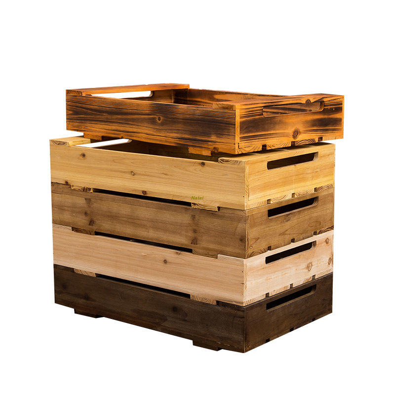 Factory custom-made bread/ fruit/ wine antique solid wooden crate box