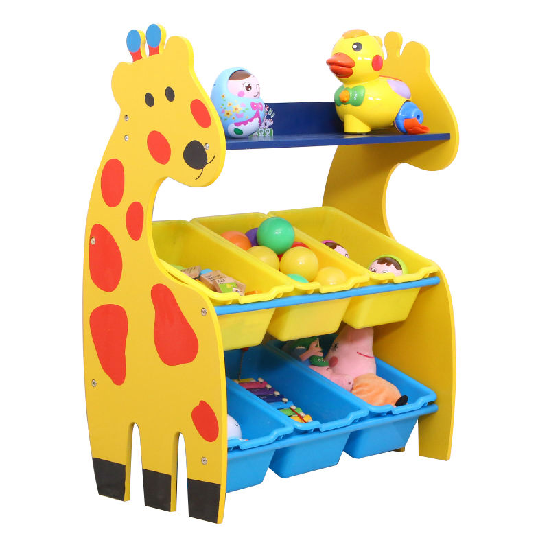 Children furniture giraffe style kids indoor toy storage cabinet toy storage rack with plastic box for sale