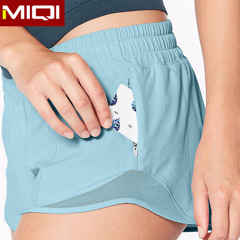 Wholesale Nylon Spandex Gym Women Fitness Shorts with Pockets