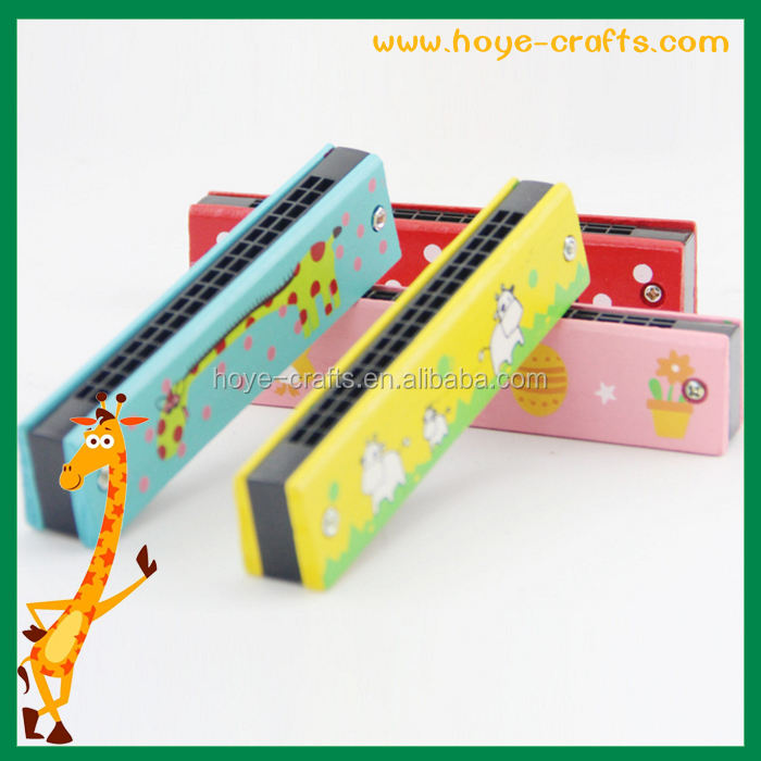 Children hot sale factory wholesale cheapest handmade cartoon wooden harmonica