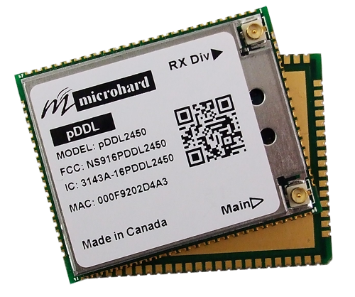 Microhard pDDL2450 2.4 GHz 1 W Wireless OEM Ethernet e Seriale Digitale Data Link su UAV