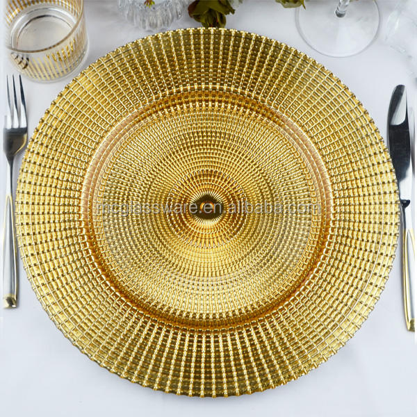 Catering Radial Gold Glass Charger Plate Decorative Tableware