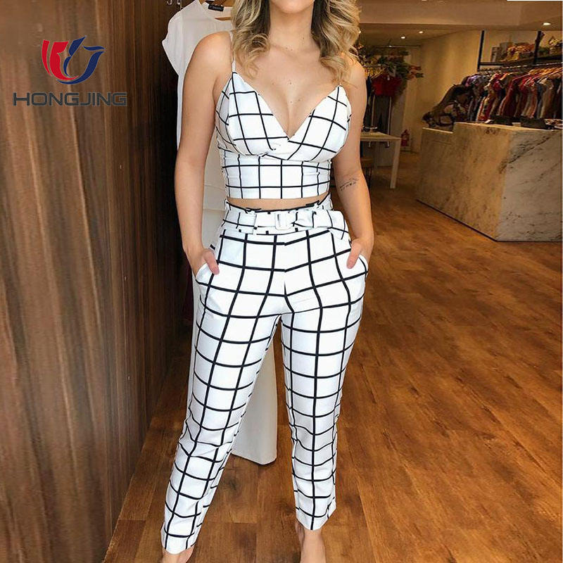 women sexy polyester Grid Wrapped Cami Top & High Waist Pants Set two pieces sets for women casual wedding party banquet suits