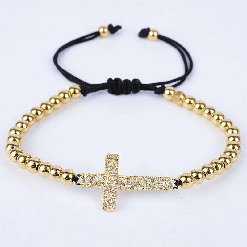 New Arrival 18K Real Gold Plated 4mm Round Bead Adjustable Micro Pave CZ Balls Cross Braiding Macrame Bracelet