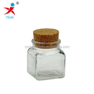 50ml small square glass spice jar bottle with cork