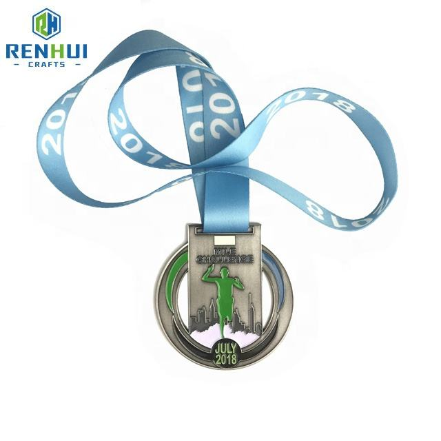 Maker custom metal 5k run half marathon hanger race sport cups trophies finisher runner miraculous medal