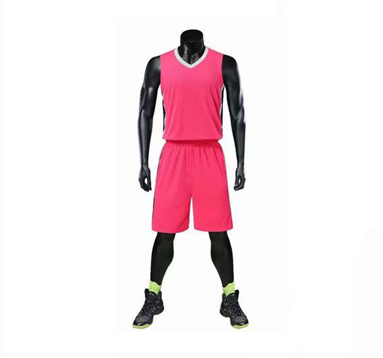 Mesh breathable college basketball jersey uniform design color pink jersey basketball clothing