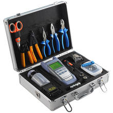 Fiber Optic FTTH Tool Kit with SKL-60S Fiber Cleaver and Optical Power Meter 10MW Visual Fault Locator wire stripper toolbox set