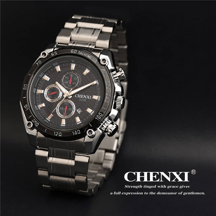 CHENXI 029B Cool Sport Speed Watch Men Stainless Steel Watches Wholesaler Date Chronograph Analog Wristwatch