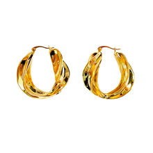 European And American Minimalist Gold Tone Hoop Earrings Fashion Personality Twisted Gold Plated Circle Hoop Earrings For Women