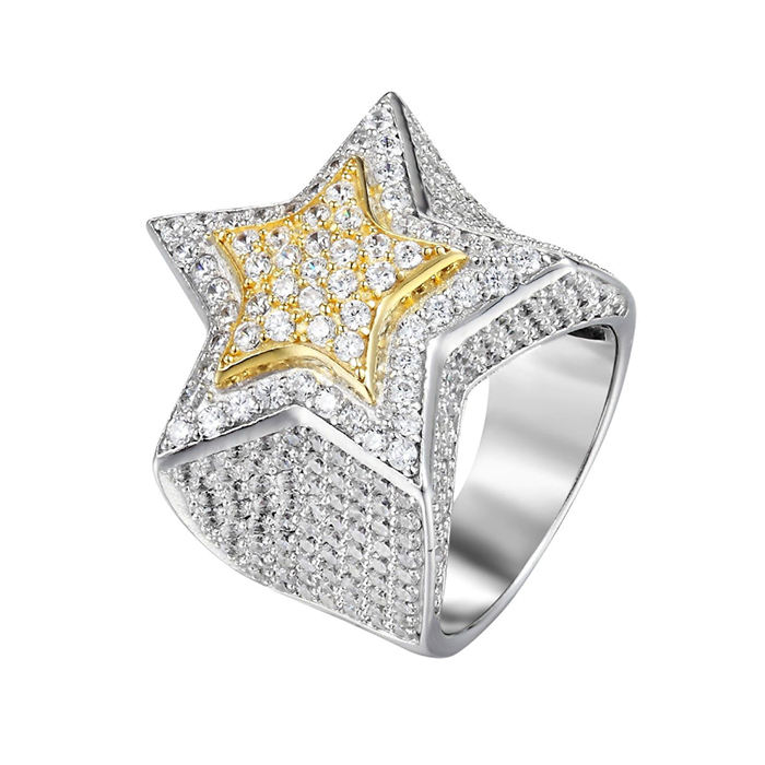 Kingyee Jewelry 18 18k Gold CZ Micro Paved Star Shape Pinky Ring Men