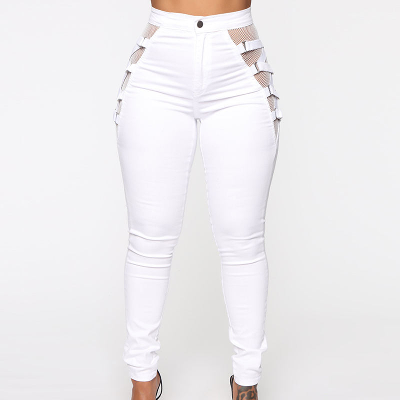 Custom cheap price mesh lace jeans wholesale ladies white jeans