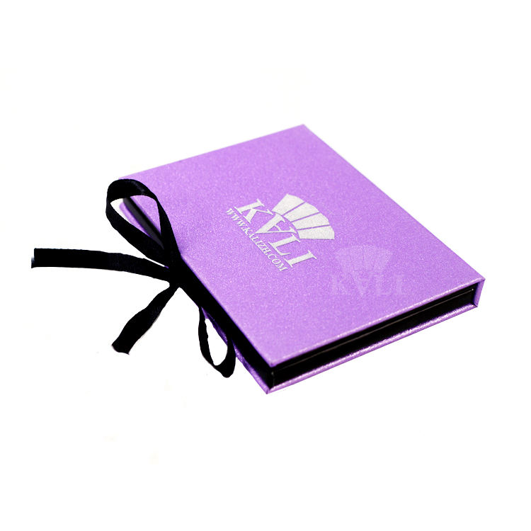 Purple empty 26mm pan eyeshadow palette case with gift ribbon create your own palette