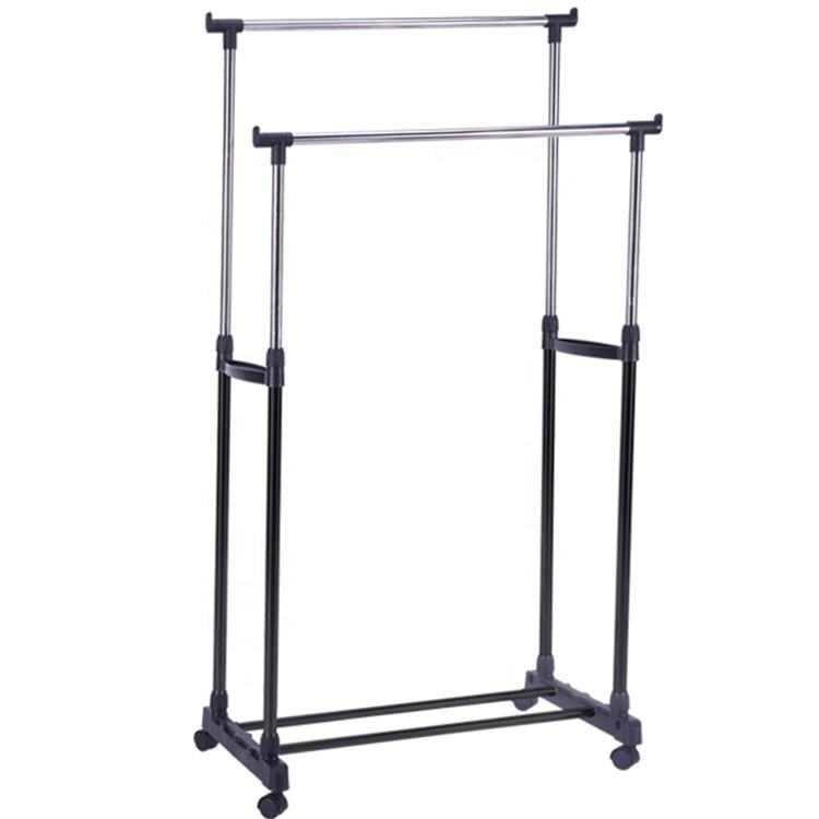 Double pole telescopic foldable garment rack stand clothes shoes drying rack hanger with wheel