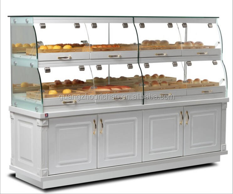 supermarket glass cake cabinet, bread display showcase for sale