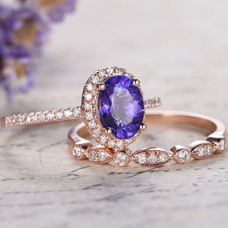 CAOSHI 18 k Rose Gold Überzogen Fashion Engagement Schmuck Set Amethyst Farbe Messing Frauen Ring Sets