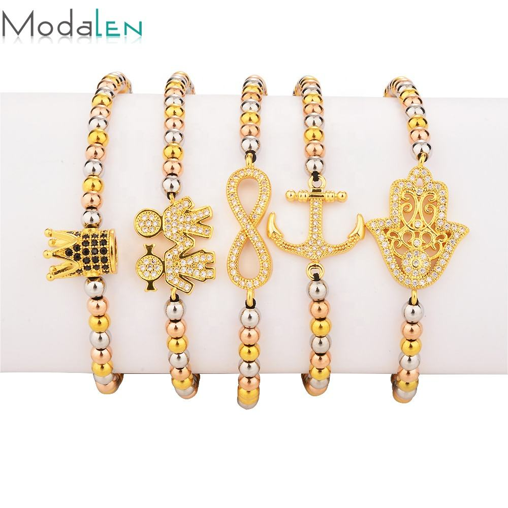 Modalen Stainless Steel Three Tone Bead Crown Charm Femme Twisted Bracelet For Woman Jewelry