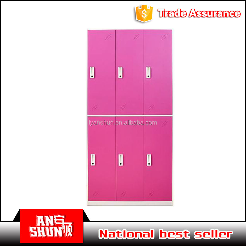 6 Door Metal Locker Hot Sale Colorful Metal Nursery School Furniture Teachers 6 Door Storage Locker