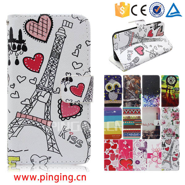Color printing leather with card slots mobile phone accessory for HTC Desire 630
