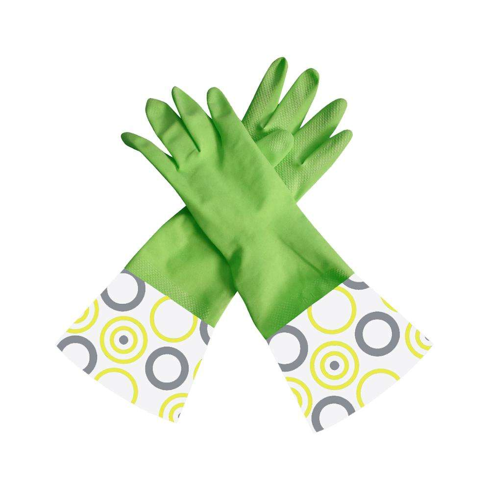 Natural Household Rubber Latex Gloves Printed With LOGO