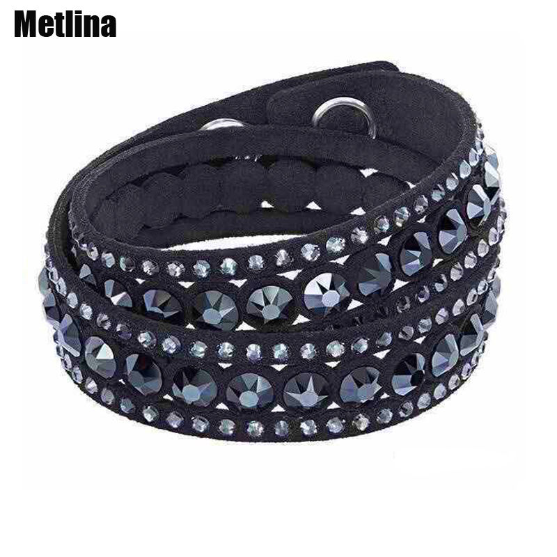 Fashion leather bracelet wrap multilayer crystal bracelet double twist snap charm jewelry
