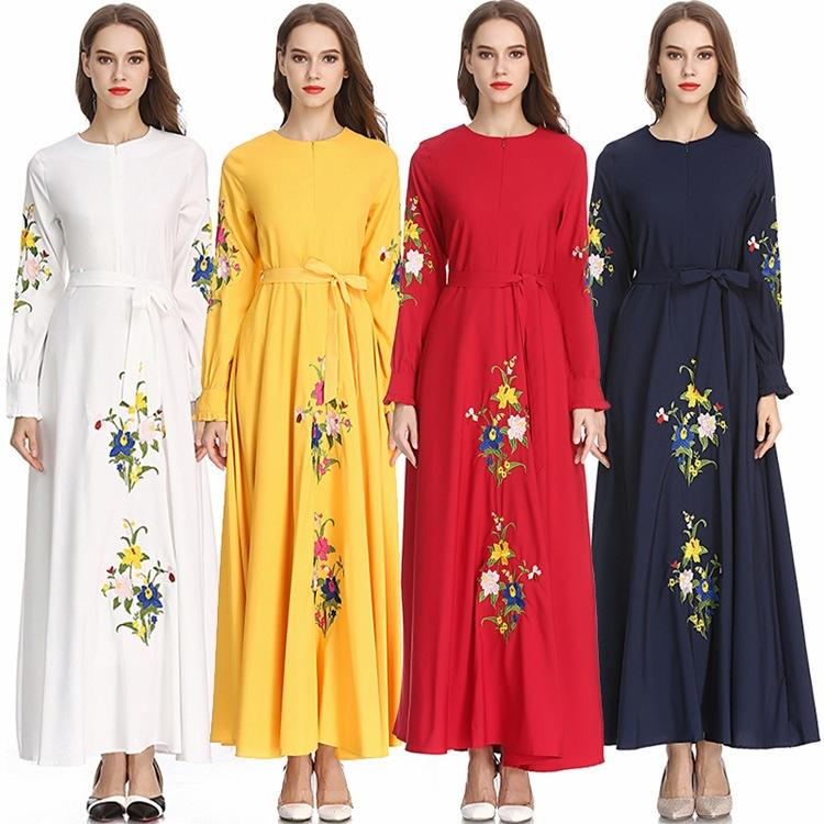 New Arrivals Eid Ramadan Dubai Muslim Women Elegant Long Sleeve Islamic Maxi Dress With Belt Floral Embroidery Abaya