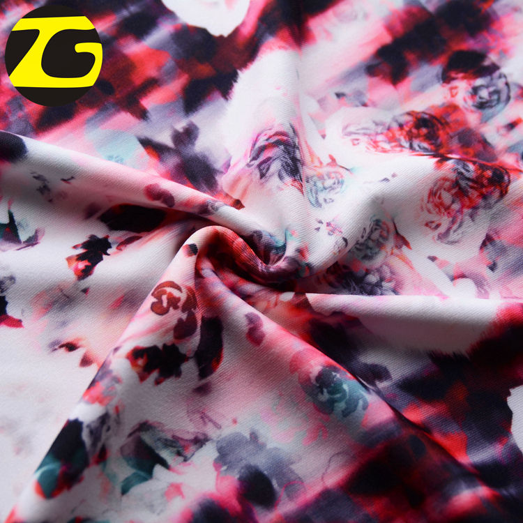 China manufactory popular venetian flower printed twill satin 100% polyester fabric for mattress