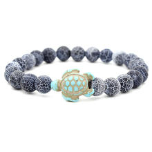 Wholesale 8mm Agate Natrual Stone Bracelet Jewelry Sea Turtle Bracelet For Women