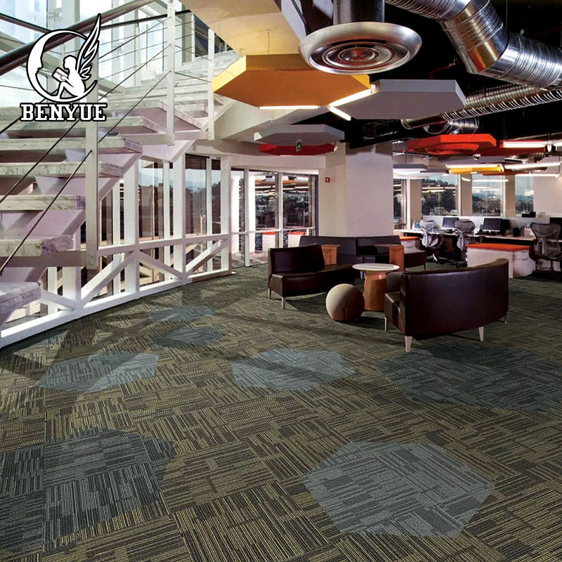 hotel use 50*50cm polyester Loope pile carpet tiles anti-slip polypropylene PVC back carpet