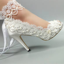Morili elegant white color satin lace women high heel wedding shoes for bride with pearls MWSB2
