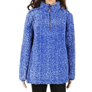 1/4 zip Navy frosted sherpa fleece vrouwen trui
