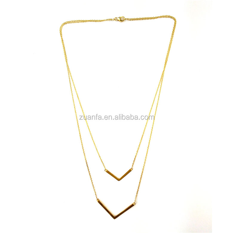 wholesale price 18kt gold plating V shape pendant fashion necklace jewelry