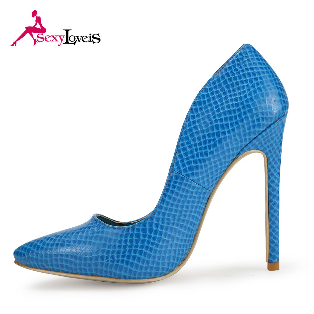 New Dance ladies Blue Snake Formal Office Women High Heel Shoes