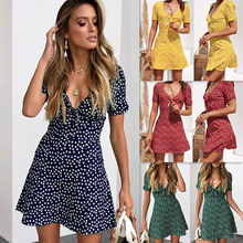Wholesale 2019 fashion sexy ladies short sleeve V-neck summer Women Dresses (C183039)