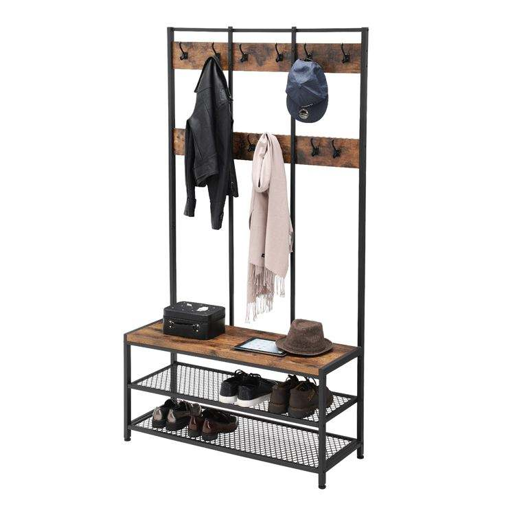 VASAGLE Industrial Design 12 Hooks Large Hat and Coat Stand Coat Rack with Shoe Rack Bench