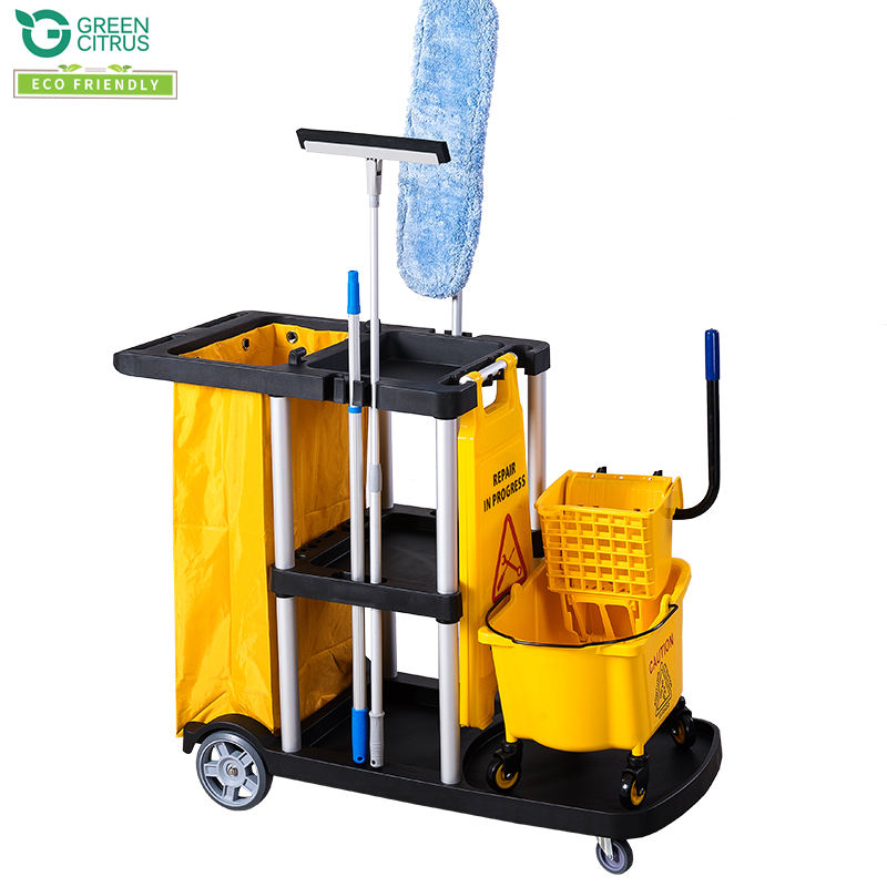 Multipurpose Cleaning Trolley Cart Helper Janitor Set For Hotel Room Service