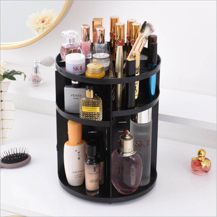 Hot Plastic Makeup Organizer 360 Degree Rotating Cosmetic Case Storage