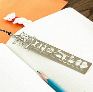 Chinese supplier personalized custom DIY Metal Ruler Template Drawing Stencil Bookmark for Scrapbooking