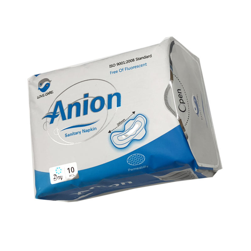 day time use disposable sanitary napkins 245mm lady sanitary pad with anion chip from china suppliers quanzhou factory