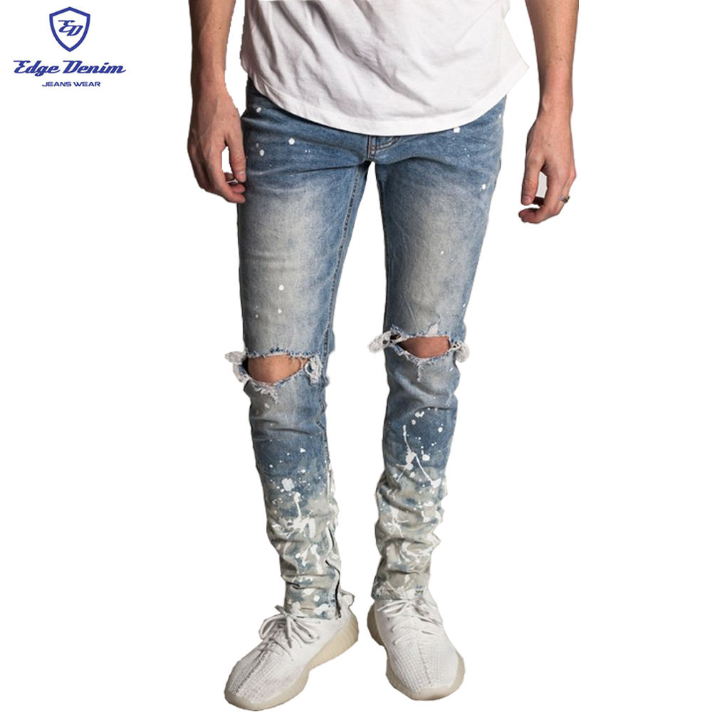 OEM high quality custom manufacturers bulk mens damage denim pants wash fashion jeans ripped style