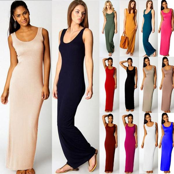 Women Summer Dress Elegant Casual Sleeveless Cotton Long Sundress
