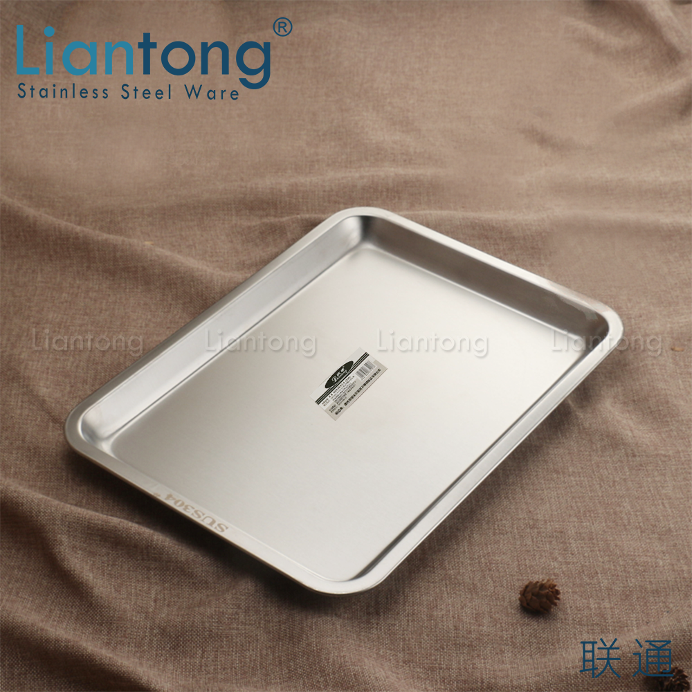 Liantong Factory High Quality Hotel Restaurant Buffet BBQ Baking Stainless Steel 304 rectangular meat plate food serving tray