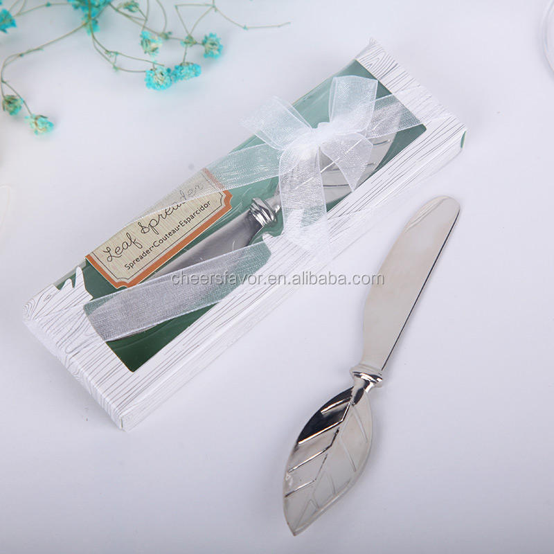 Leaf spread stainless steel maple leaf butter knife wedding favors party souvenirs