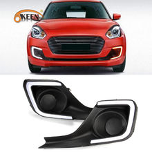 KEEN White and Amber Car LED DRL Daytime Running Light for Suzuki Swift 2018 2019 with Turning Signal DC 12V Fog Lamp Cover